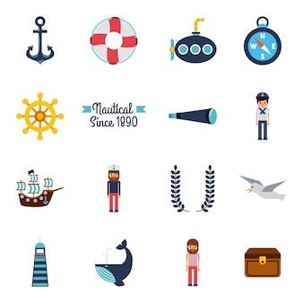 Conjunto de símbolos náuticos marinhos ícones de padrões sem costura