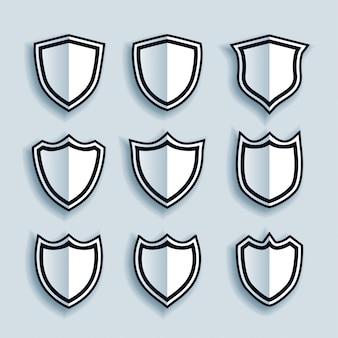 Conjunto de símbolos ou emblemas de escudo de estilo simples