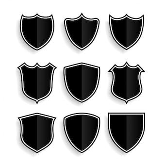 Conjunto de símbolos ou emblemas de escudo de nove