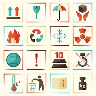 Conjunto de símbolos ou ícones de embalagem