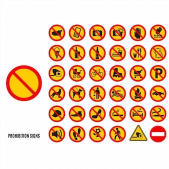 Conjunto de símbolos proibição