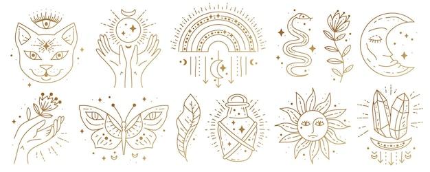 Conjunto de símbolos sagrados de elementos sagrados de boho cigano mágico