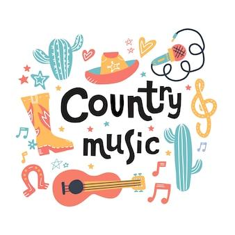 Conjunto de símbolos sobre o tema de música country com letras desenhadas.