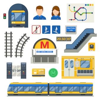 Conjunto de símbolos subterrâneos de metro.