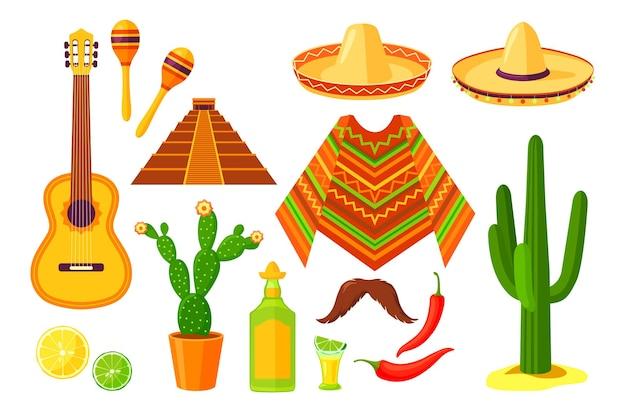 Conjunto de símbolos tradicionais mexicanos de desenho animado