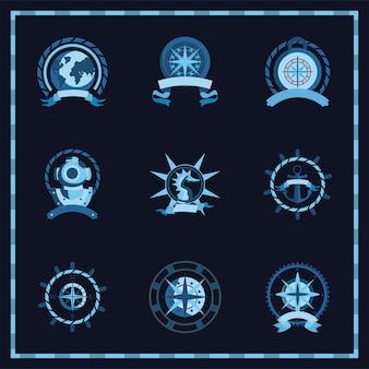 Conjunto de símbolos vintage náuticos