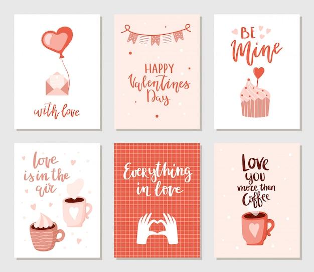 Conjunto de simples mão desenhada cartões de dia dos namorados.
