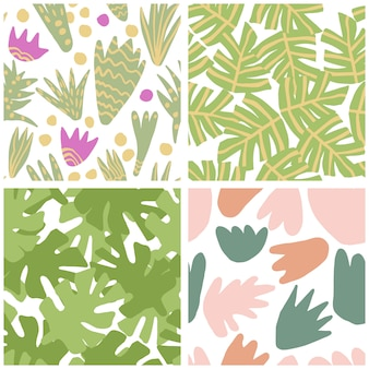 Conjunto de simples verde à mão livre tropical deixa padrão sem emenda. plantas exóticas