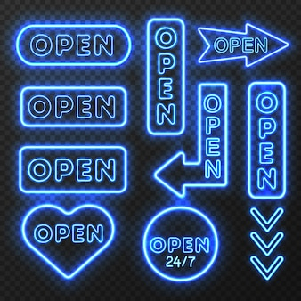 Conjunto de sinais abertos de néon