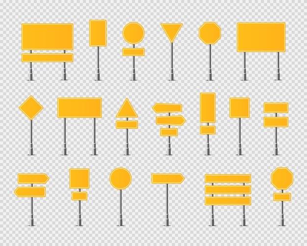 Conjunto de sinais amarelos