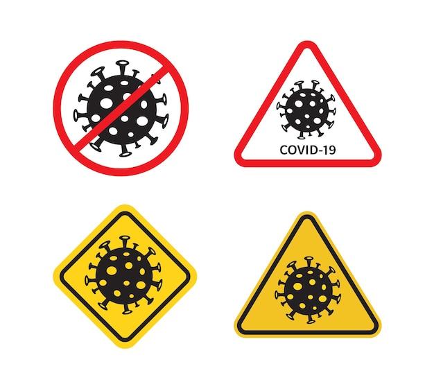 Conjunto de sinais covid19 pare o surto de coronavírus coronavírus covid19 está dando origem