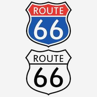 Conjunto de sinais da rota 66. o primeiro sinal de trânsito na américa. ilustração vetorial.