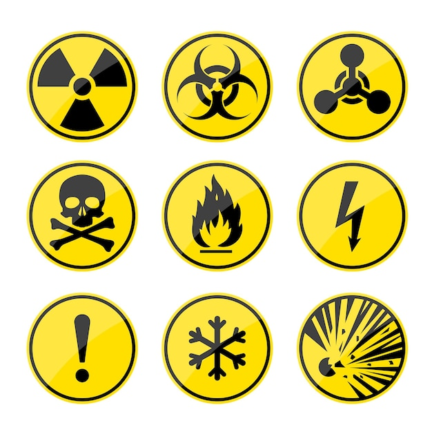 Conjunto de sinais de alerta redondos