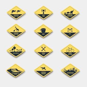 Conjunto de sinais de atenção cuidado e perigo