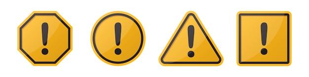 Conjunto de sinais de atenção de perigo com ponto de exclamação em diferentes formas em laranja