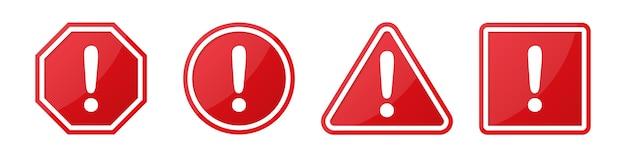 Conjunto de sinais de atenção de perigo com ponto de exclamação em diferentes formas em vermelho