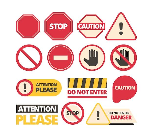 Conjunto de sinais de atenção