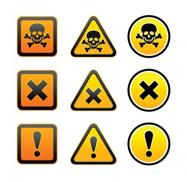 Conjunto de sinais de aviso de perigo