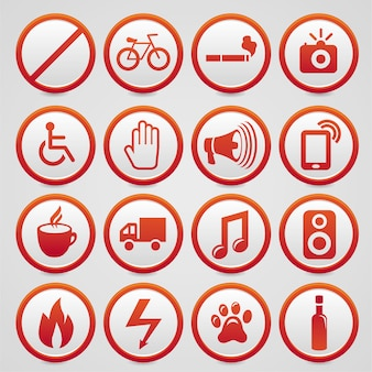 Conjunto de sinais de aviso de vetor com ícones vermelhos