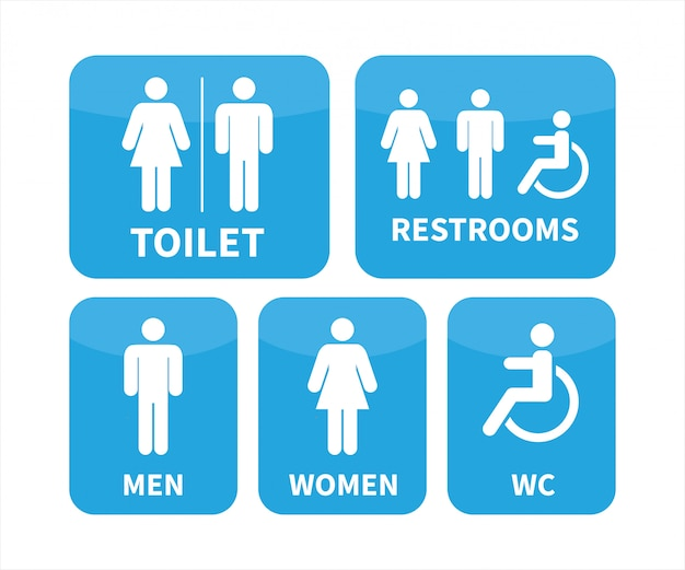 Conjunto de sinais de banheiro.