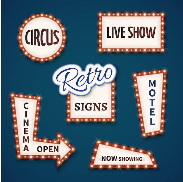 Conjunto de sinais de bulbo de néon retrô. cinema, show ao vivo, aberto, circo, agora exibindo, banners de motel