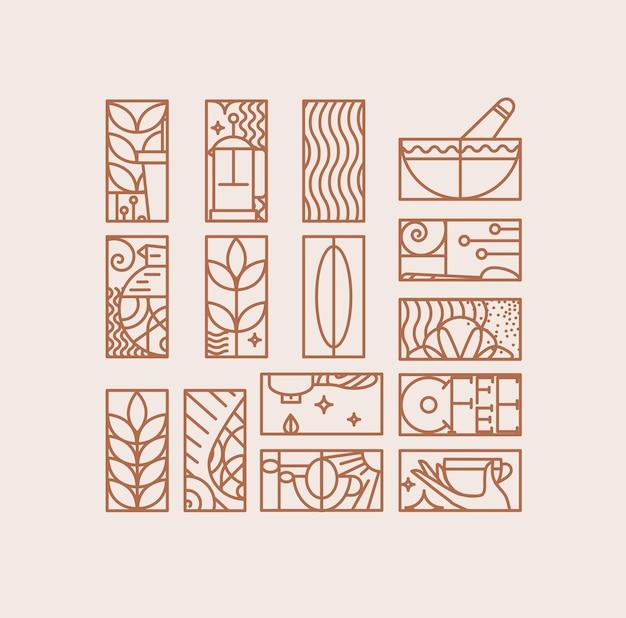 Conjunto de sinais de café criativo moderno art deco em estilo de linha plana, desenho em fundo bege.