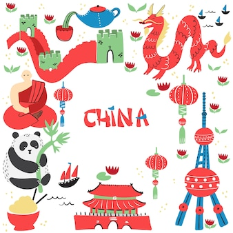 Conjunto de sinais de china desenhado à mão com os principais pontos turísticos, lugares famosos ou pontos turísticos.
