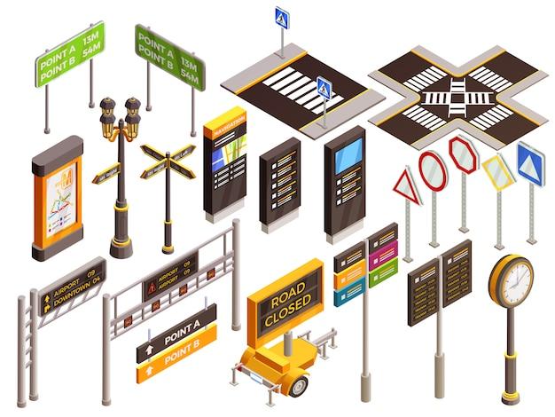 Conjunto de sinais de direção urbana