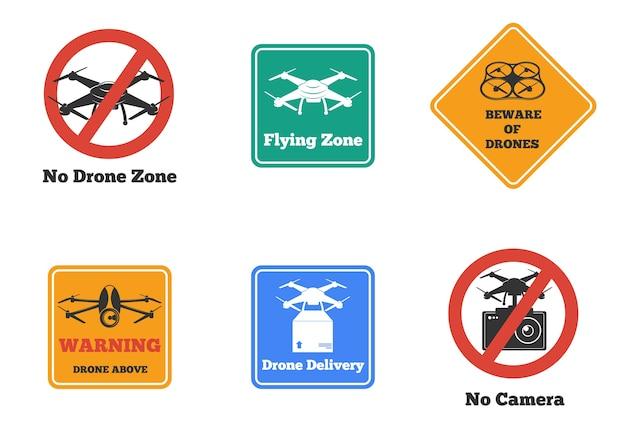 Conjunto de sinais de drones proibidos e de advertência de várias formas e cores isoladas