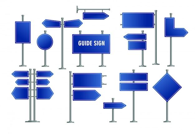 Conjunto de sinais de estrada azul