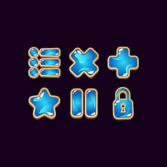 Conjunto de sinais de ícone de geléia de madeira de interface do usuário do jogo para elementos de ativos de interface do usuário