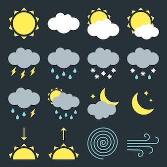 Conjunto de sinais de ícones meteorológicos modernos símbolos de ilustração vetorial de design de estilo simples