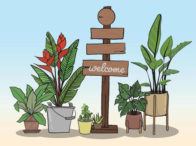 Conjunto de sinais de madeira e vasos de plantas para escrever mensagens