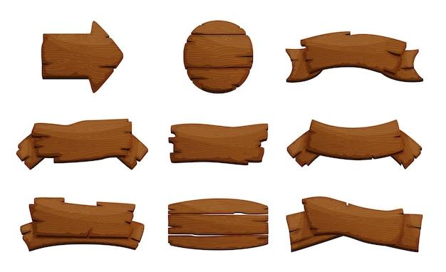 Conjunto de sinais de madeira. tábuas e pranchas rústicas, letreiros.