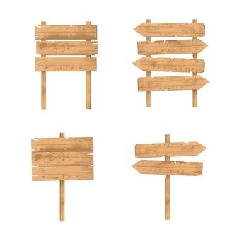 Conjunto de sinais de madeira. tábuas e tábuas rústicas ásperas, letreiros pendurados