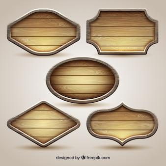 Conjunto de sinais de madeira vintage