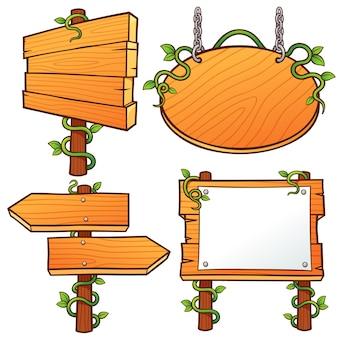 Conjunto de sinais de madeira