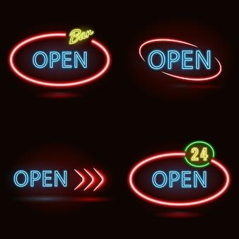 Conjunto de sinais de néon aberto feito nas cores vermelhas e azuis