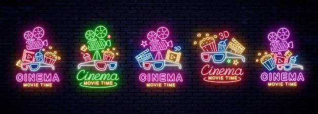 Conjunto de sinais de néon brilhantes para o cinema.