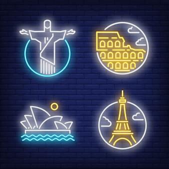 Conjunto de sinais de néon de marcos. cristo redentor