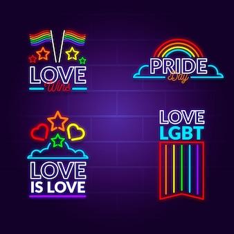 Conjunto de sinais de néon do dia do orgulho