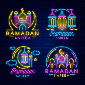 Conjunto de sinais de néon do ramadã
