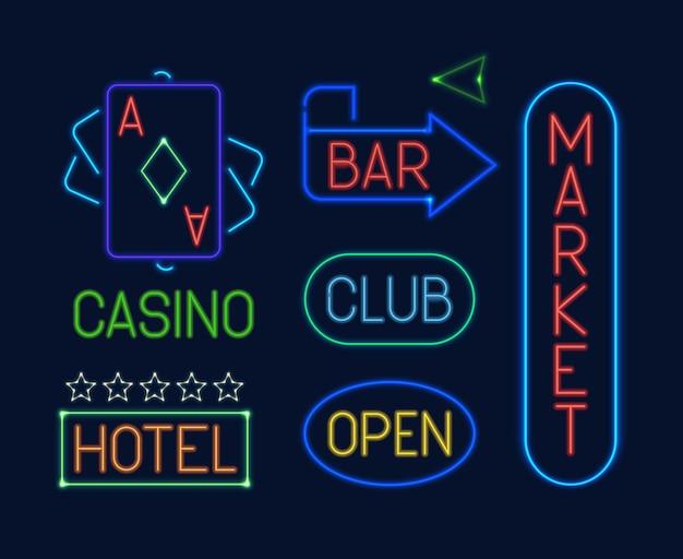 Conjunto de sinais de néon. ponteiros elétricos de néon coloridos brilhantes carta clube azul cassino cartas baralho verde mercado bar vermelho hotel laranja publicidade
