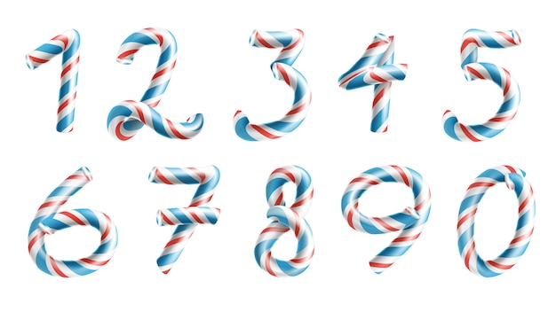 Conjunto de sinais de números candy cane