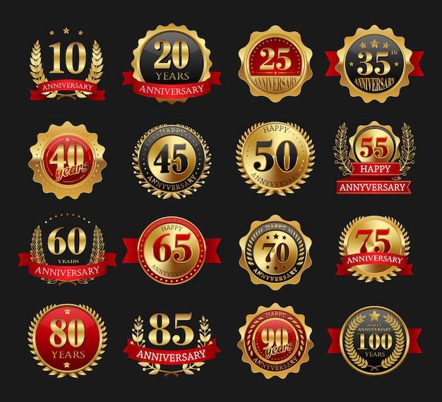 Conjunto de sinais de ouro de aniversário