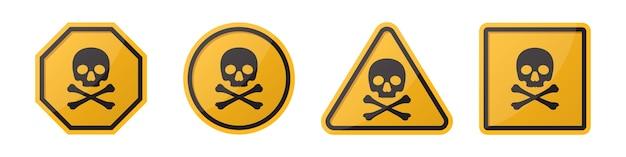 Conjunto de sinais de perigo de perigo com caveira e ossos cruzados em diferentes formas em laranja