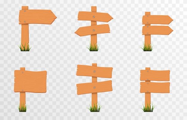 Conjunto de sinais de ponteiros de madeira de desenho animado na grama verde placas de ponteiros de madeira