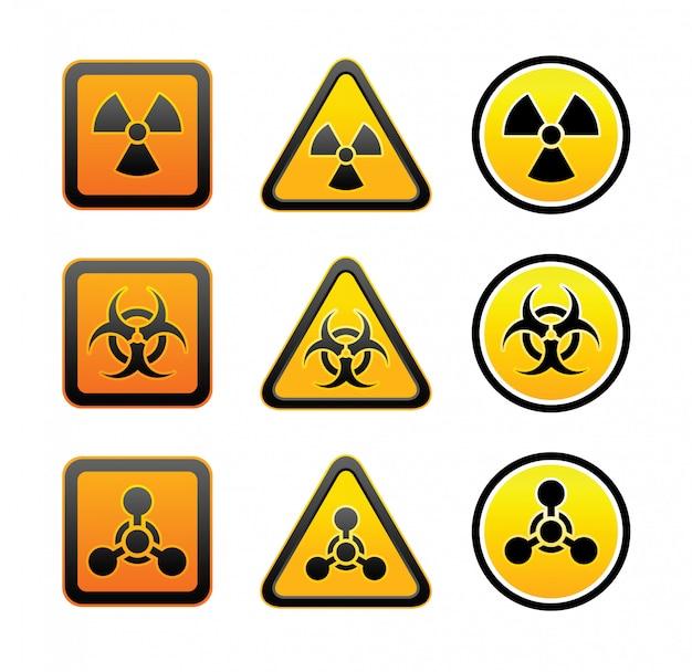 Conjunto de sinais de radiação de aviso de perigo