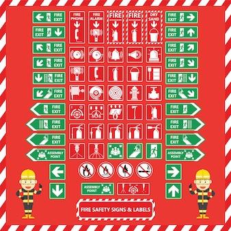 Conjunto de sinais de segurança de incêndio e rótulos