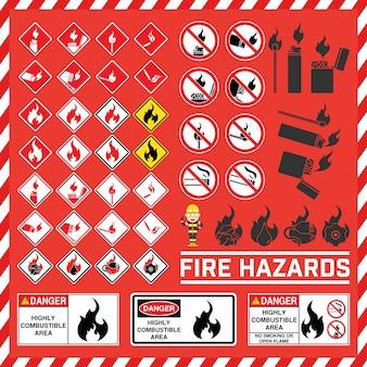 Conjunto de sinais de segurança e símbolo de risco de incêndio